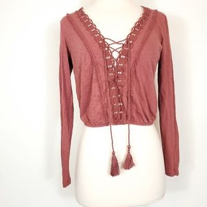 American Eagle Outfitters Mauve crochet tassel top